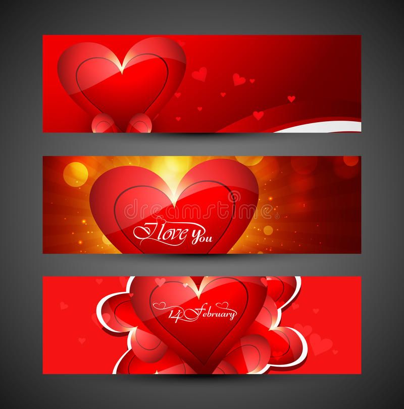Valentine's day colorful heart banners or headers set design royalty free illustration