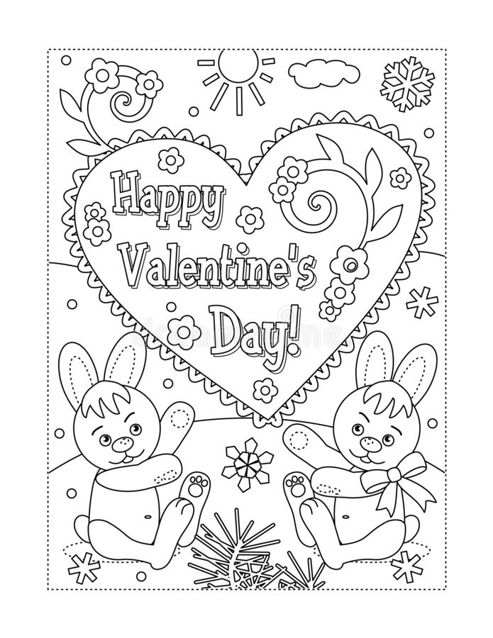 Valentine`s Day Coloring Page Stock Vector - Illustration Of Card,  Children: 138550528