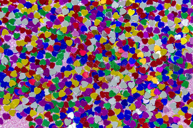 Valentine`s Day composition. Flat lay, top view of multicolored, colorful hearts texture. Love concept royalty free stock images
