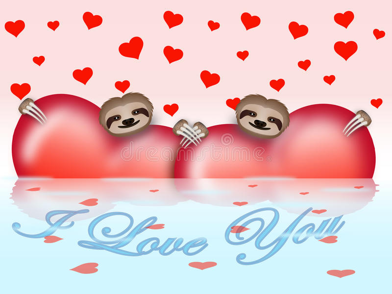 Valentines day composition with sloths stock illustration