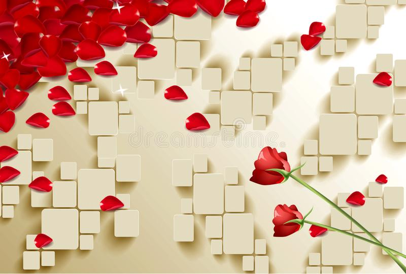 Valentine`s day concept background. Vector illustration. 3d red and pink flowers paper hearts with white square frame. Cute love s royalty free illustration