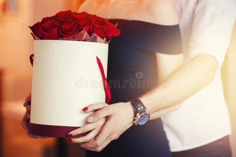 Flowers in the hat box and love stock photo