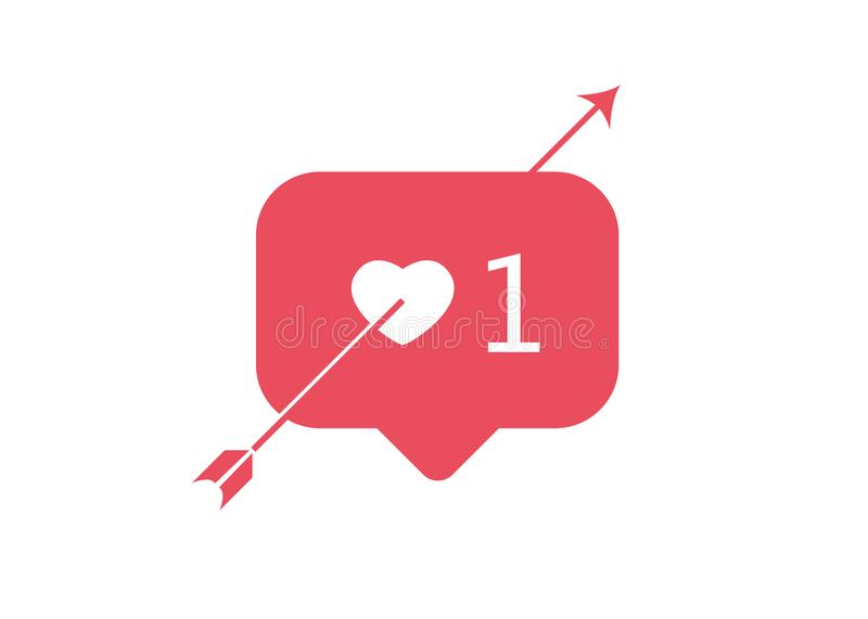 Valentine`s day concept , Like, love, one, instagram, button and red heart with arrow, vector illustration isolated vector illustration