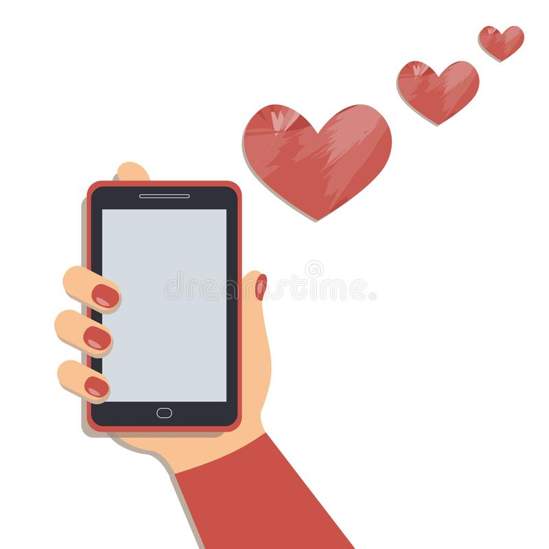 Valentine`s day concept: A mobile phone in the cute female`s hand and the artistic hearts fly out of cellphone. A smartphone in businesswoman`s hand. A red stock illustration