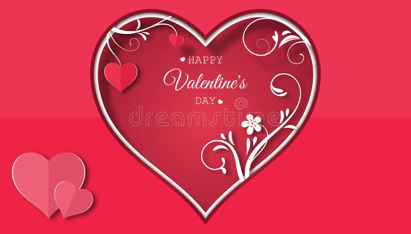Valentine`s day concept with red pink paper hearts hanging on tree branch,floral paper, Paper cut style, Vector symbols of love, ilustración del vector
