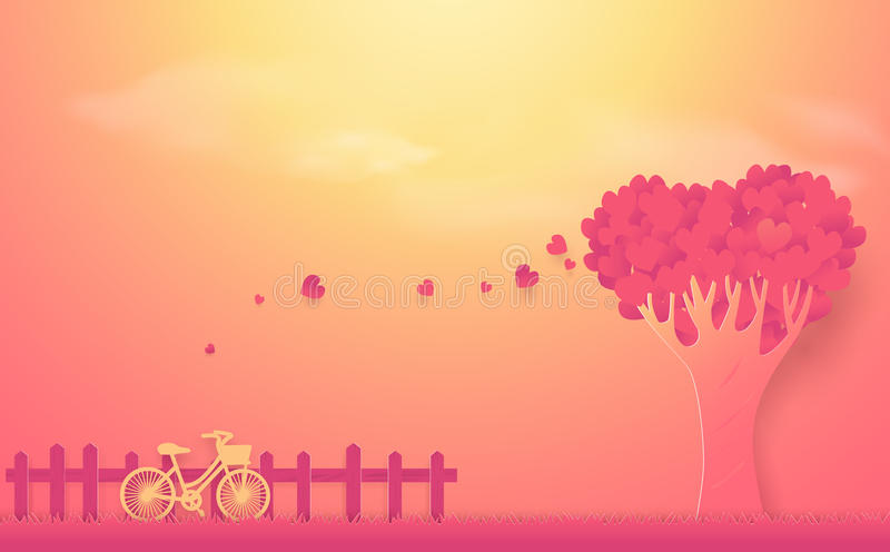 Valentine`s day concept. Tree made out of hearts and bike. Valentine`s day concept. Tree made out of hearts and bike background royalty free illustration