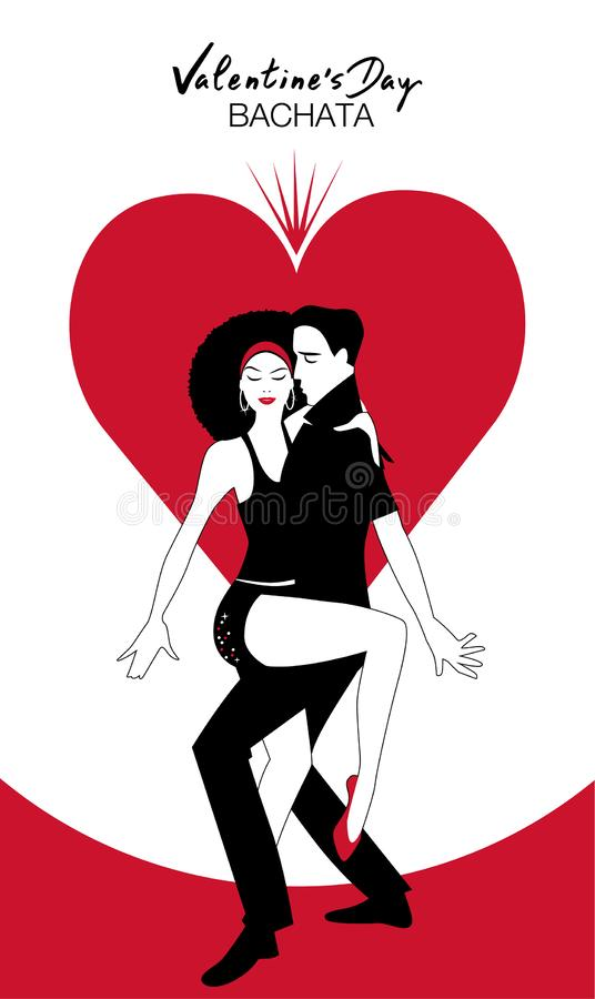 Valentine`s Day. Couple dancing bachata on heart in the background. And handwritten text of Valentine`s Day stock illustration