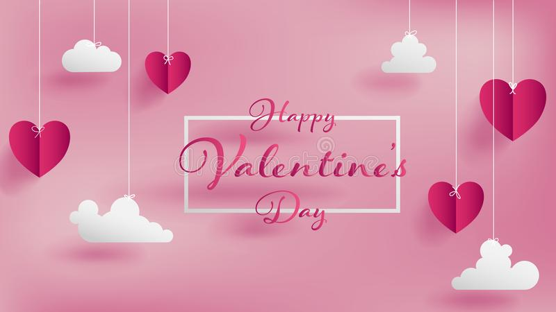 Valentine`s day of craft paper design. Contain pink hearts and clouds are holding by sting on top,soft pink background feel like fluffy in the air,Happy vector illustration