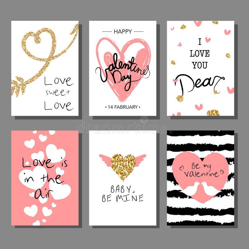 Valentine`s Day creative artistic cards set. Vector illustration. stock illustration