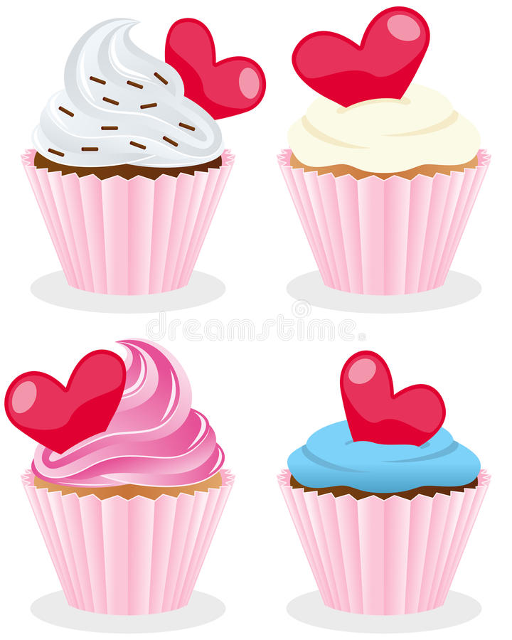 Valentine s Day Cupcakes Collection. Set of four St. Valentines or Saint Valentine s Day sweet cupcakes, isolated on white background. Eps file available stock illustration