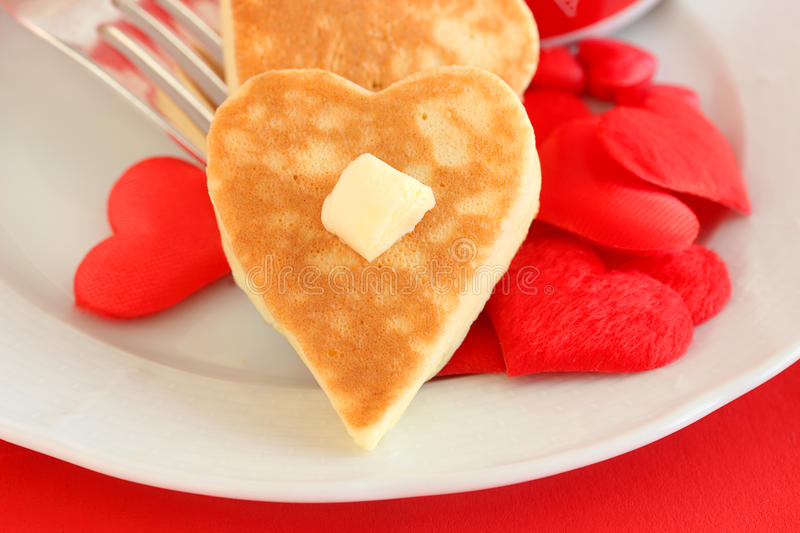 Valentine`s Day pancakes royalty free stock photography