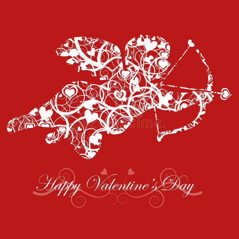 Valentine\'s Day Cupid With Bow And Heart Arrow Stock Illustration ...
