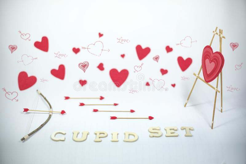 Valentine`s Day, cupid set stock photo