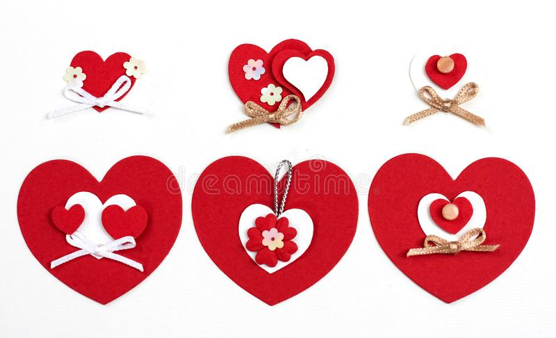 Valentine`s day cut red paper heart with white background. ornaments paper cards kraft handmade. royalty free stock images