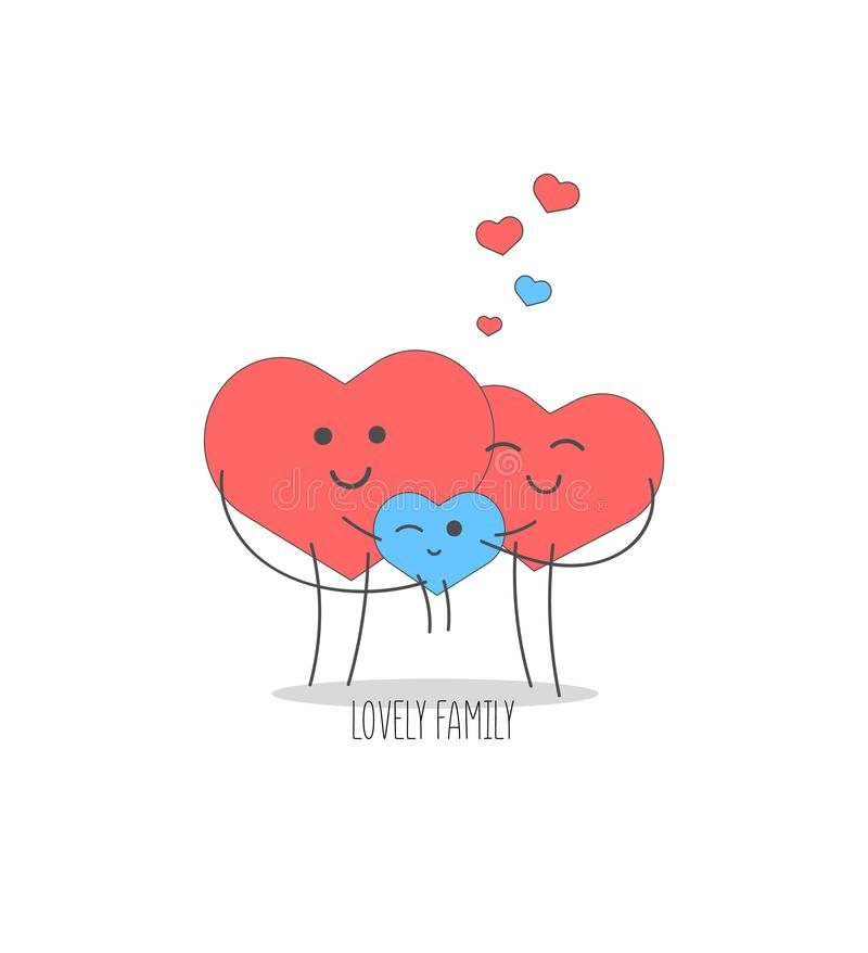 Valentine S Day Cute Family Of Hearts Father And Mother Hold Their Baby In Their Arms Stock Illustration Illustration Of Beautiful Emotion 136429729