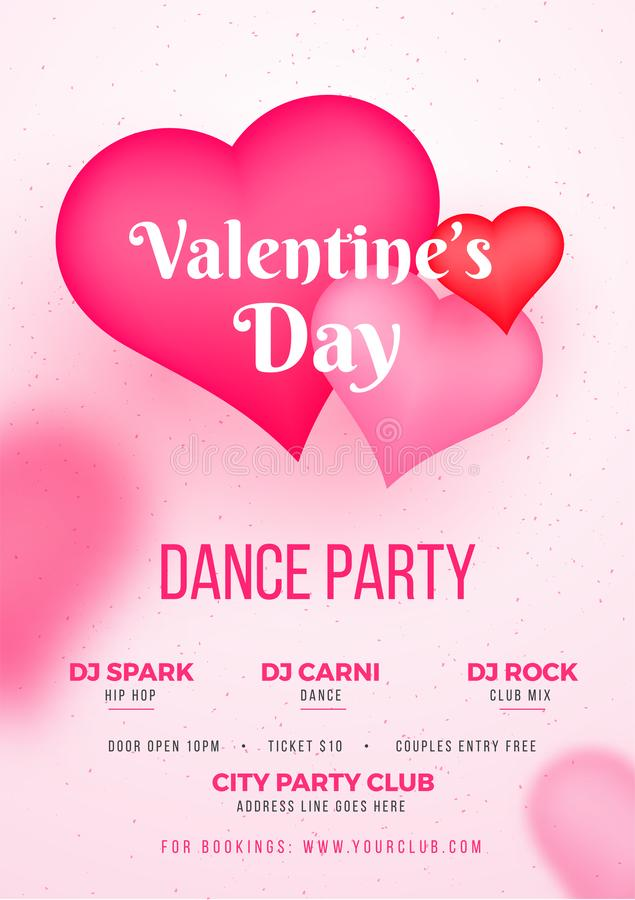 Valentine`s Day dance party template or flyer design. stock illustration
