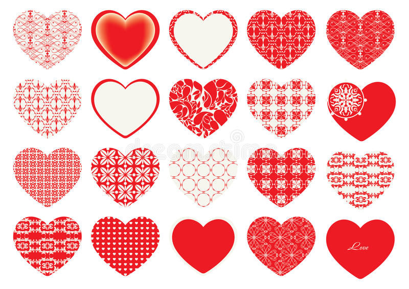 Valentine`s Day, decorative hearts. Valentine`s Day, red decorative hearts, floral motifs stock illustration