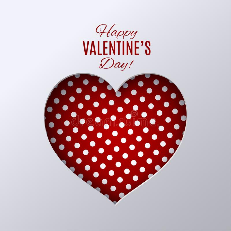Valentine`s day design. Red dotted heart shape on white background vector illustration