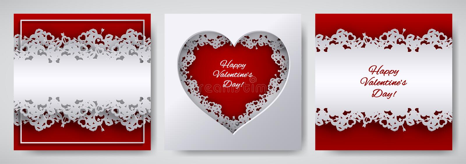Valentine`s day design set. Greeting card, poster, banner collection. Cutted paper heart decorated with lace ribbon on red / white stock illustration