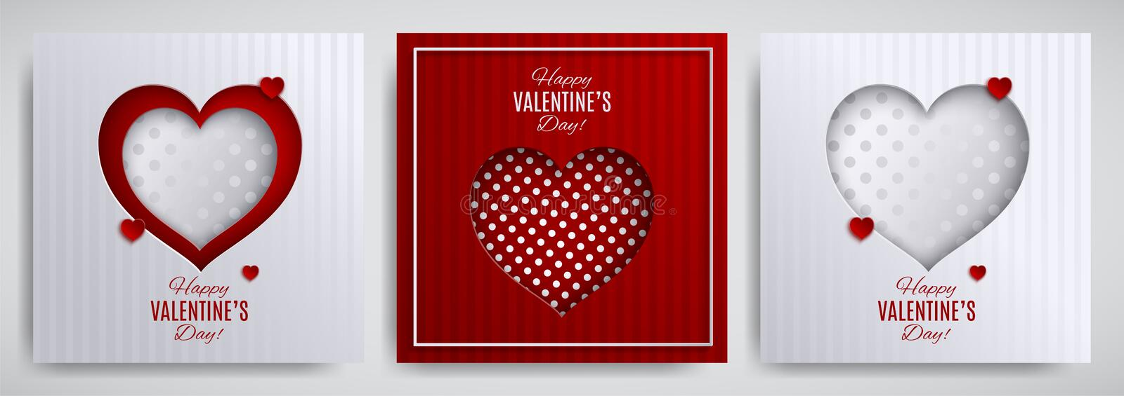 Valentine`s day design set. Greeting card, poster, banner collection. Cutted paper heart on white / red striped / dotted satin bac royalty free illustration