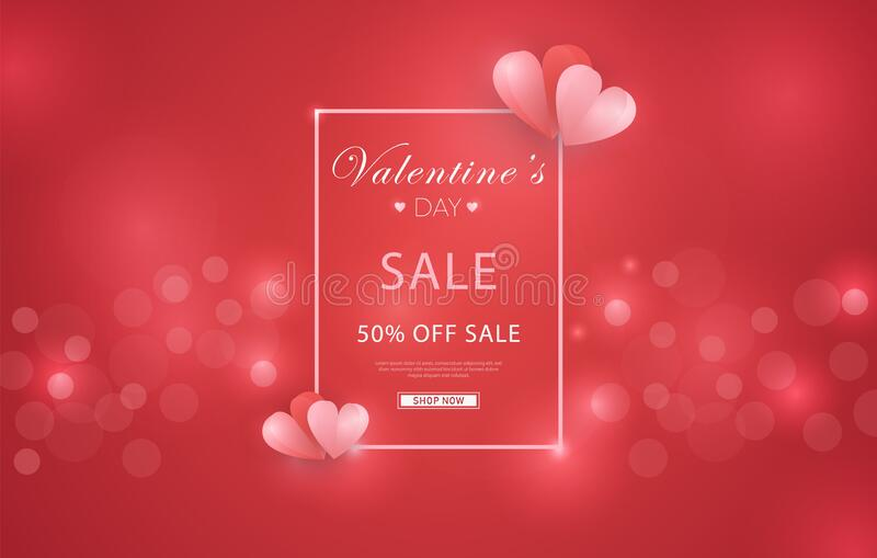 Valentine`s Day Discount Sale Illustration in red glitter background, with rectangle frame border and origami hearts. Can be used royalty free stock images