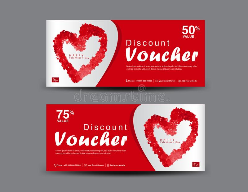 Valentine`s Day Discount Voucher, Gift Voucher template layout, business flyer design, certificate, coupon stock illustration