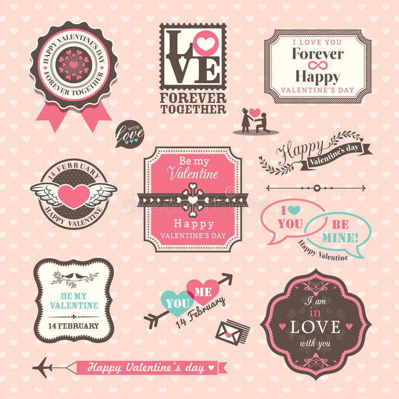 Valentine's day Elements labels and frames Vintage Style royalty free illustration