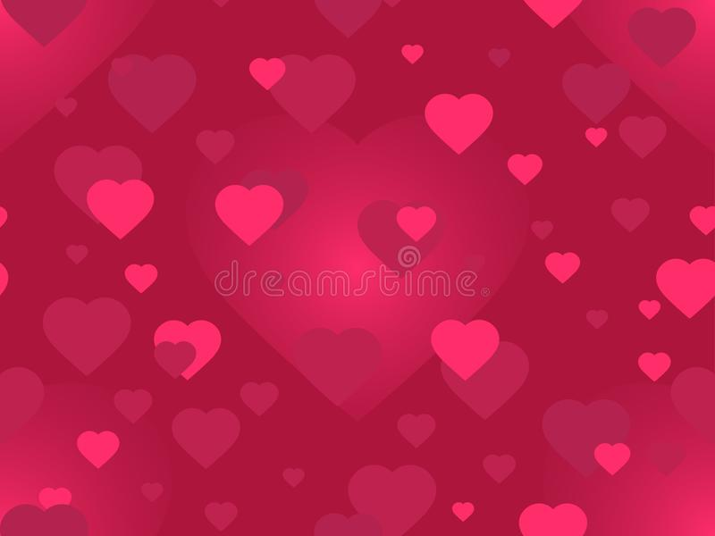 Valentine`s day. 14 February. Seamless pattern with hearts blurred. Festive background for greeting card, banner and poster. Vector illustration stock illustration