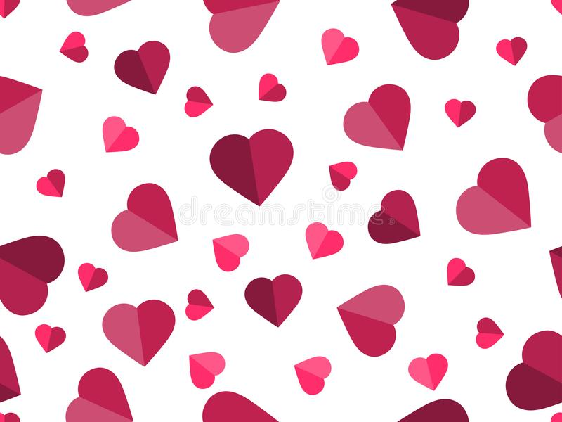 Valentine`s day. 14 February. Seamless pattern with hearts. Festive background for greeting card, banner and poster. Vector illustration stock illustration
