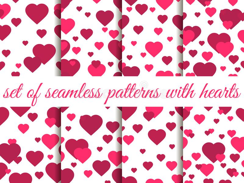Valentine`s day. 14 February. Seamless pattern set with hearts. Festive background for greeting card, banner and poster. Vector illustration vector illustration