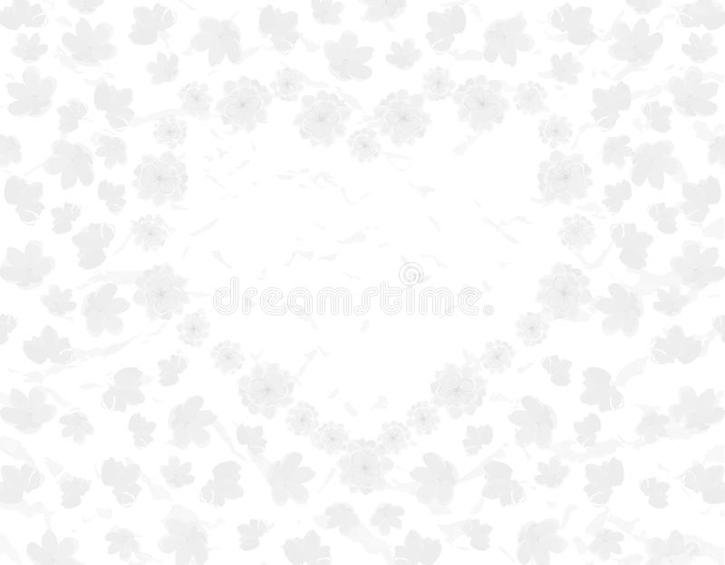 Valentine s Day. Field and heart of Sakura flowers. Black and white illustration. Valentine s Day. Field and heart of Sakura flowers. Black and white vector stock illustration