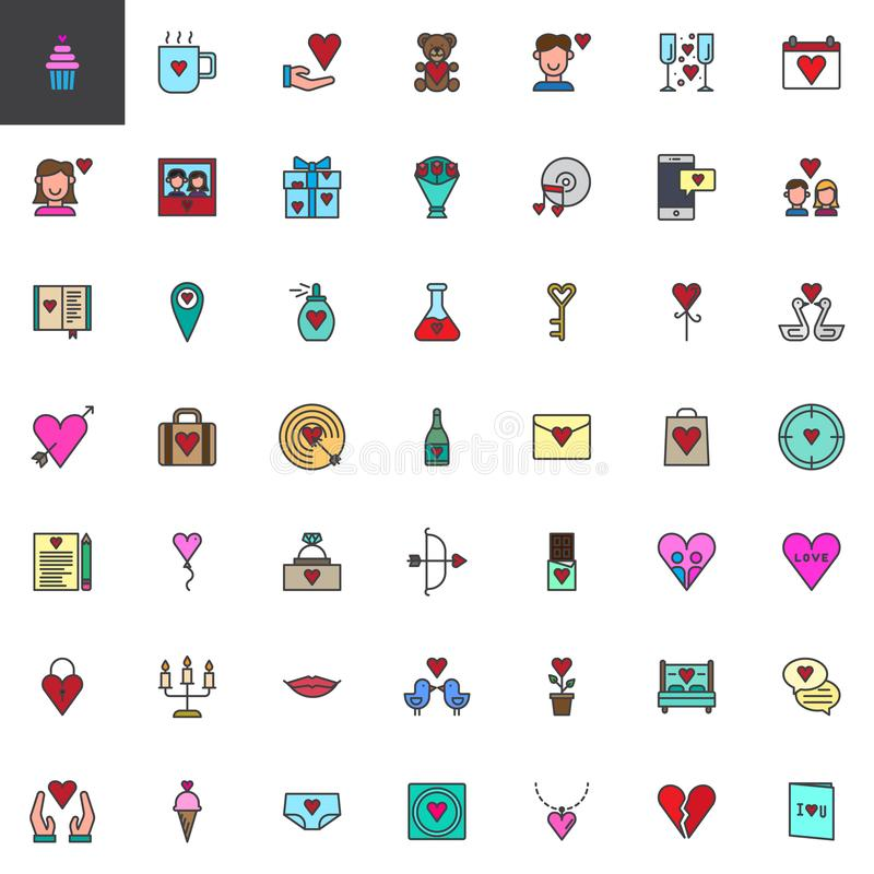 Valentine`s Day filled outline icons set royalty free illustration