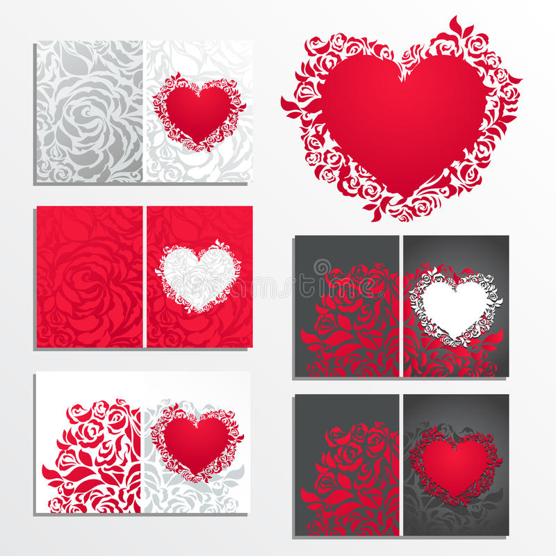 Valentine's day floral greeting cards vector illustration
