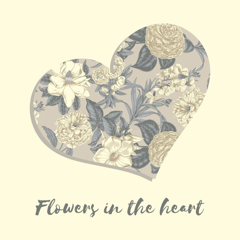 Valentine`s Day. Flowers in the heart. Greeting card with floral pattern. Illustration in vintage style. Declaration of love. Invi. Tation to the wedding royalty free stock images