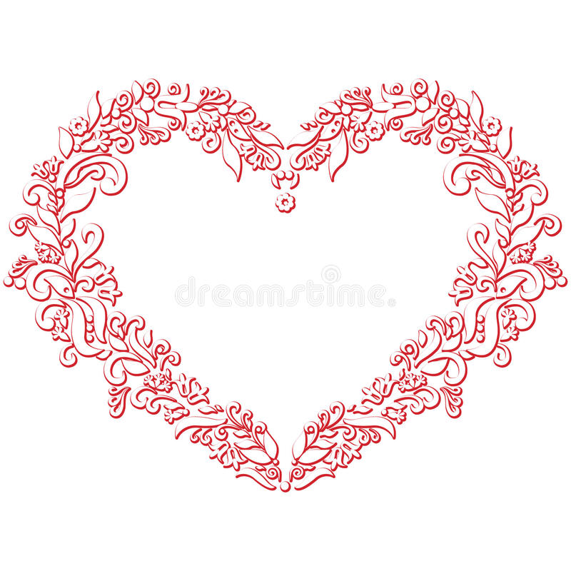 Valentine's day folk embroidery and cutout inspired heart shape vector illustration