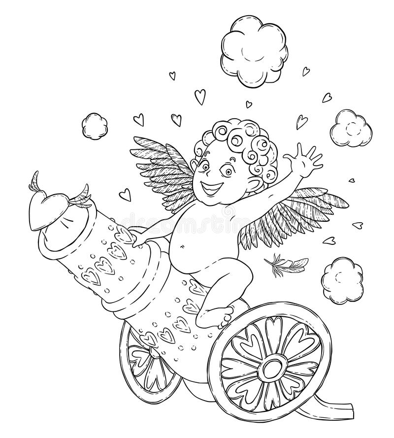 Valentine`s day. Funny Cupid-boy riding on a cannon firing hearts. Vector illustration isolated on white. Coloring page stock illustration