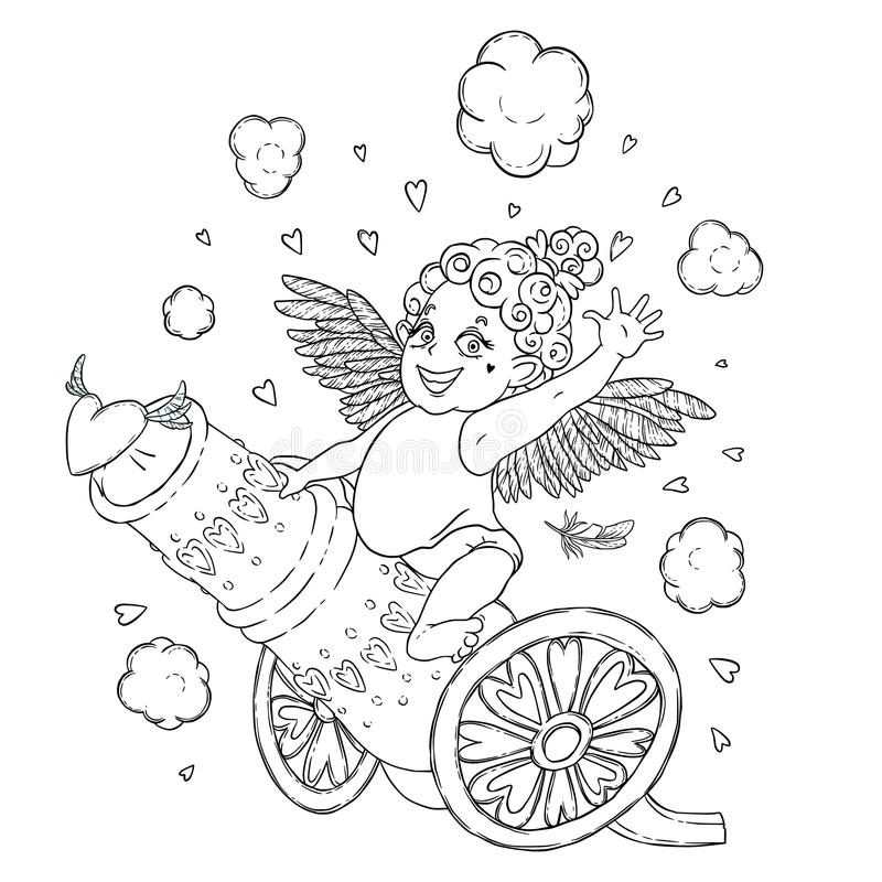 Valentine`s day. Funny Cupid-girl riding on a cannon firing hearts. Vector illustration isolated on white. Coloring page stock illustration