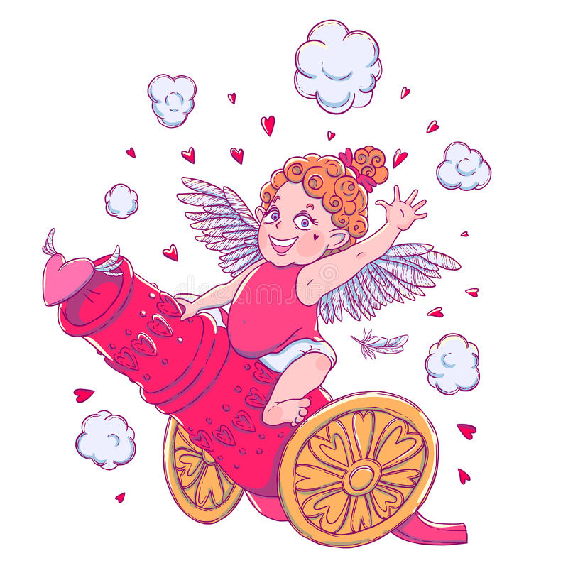 Valentine`s day. Funny Cupid-girl riding on a cannon firing hearts. Vector illustration isolated on white. T-shirt printing royalty free illustration