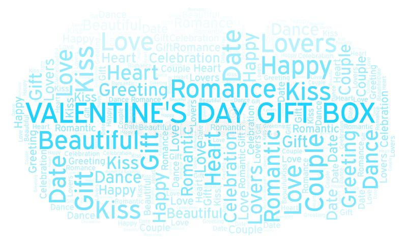 Valentine's Day Gift Box word cloud. Word cloud made with text only stock illustration