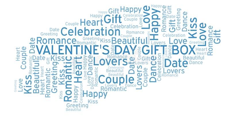 Valentine's Day Gift Box word cloud. Word cloud made with text only vector illustration