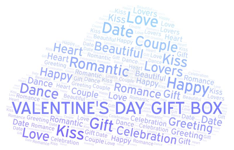 Valentine's Day Gift Box word cloud. Word cloud made with text only royalty free illustration