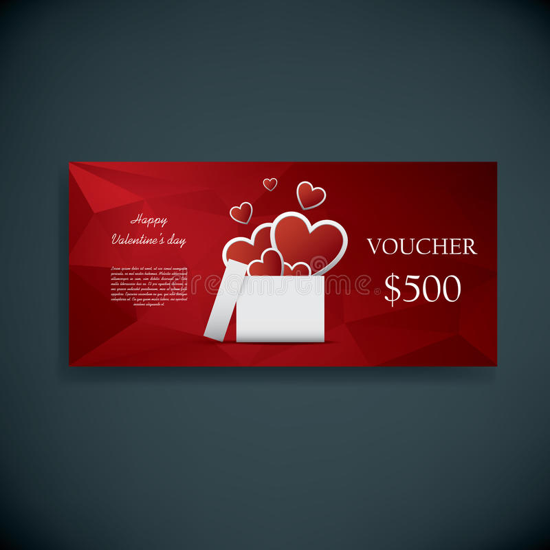 Valentine's day gift card voucher template present and space for your text. Horizontal red low poly vector background. stock illustration