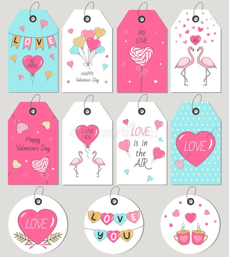 Valentine`s Day gift tags and cards. Hand drawn design elements. stock illustration