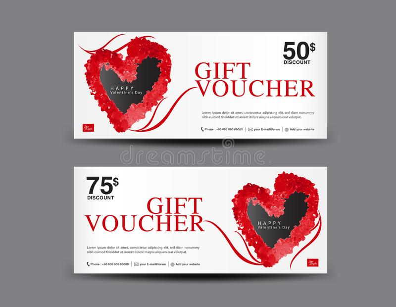 Valentine`s Day Gift Voucher template layout, business flyer design, certificate, coupon royalty free illustration