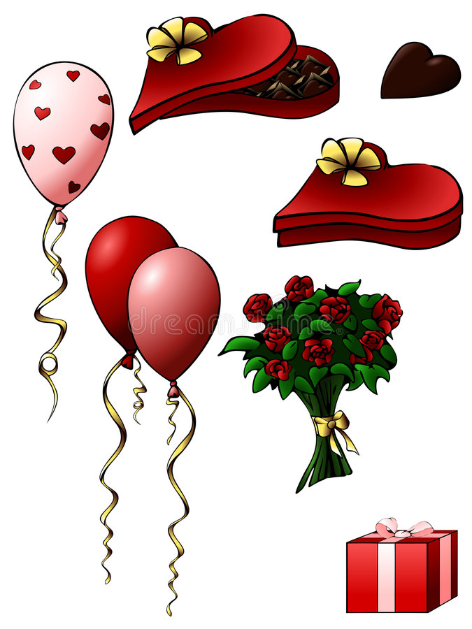 Valentine's day gifts. Collection of various gifts for Valentine's Day; drawn with a comic-style outline. Graphics are grouped for easy editing. The file can be stock illustration