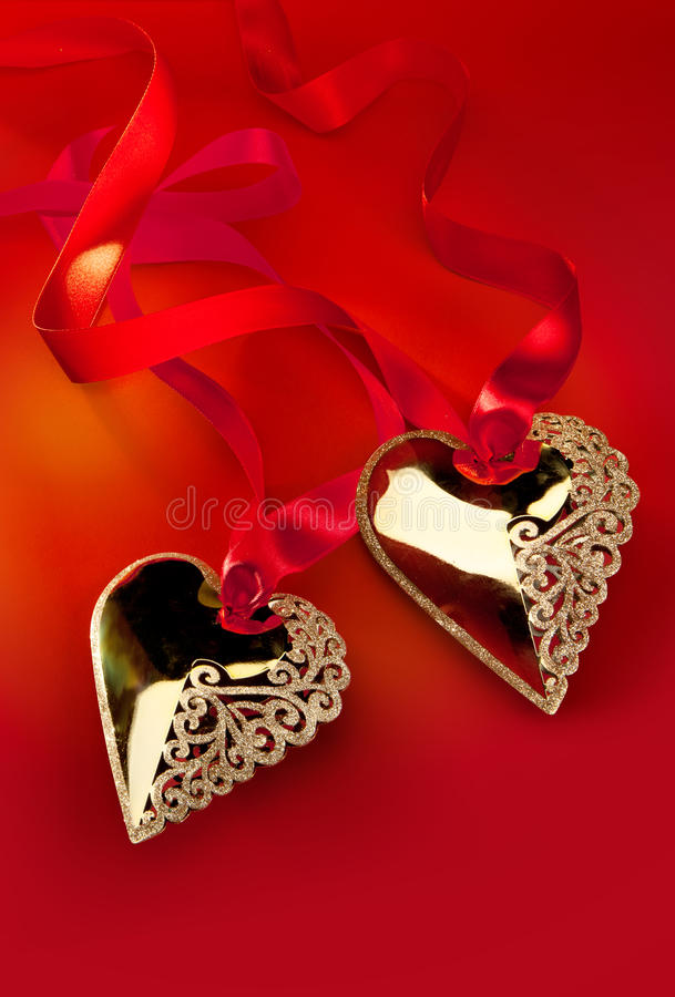 Valentine S Day Golden Heart Stock Photography