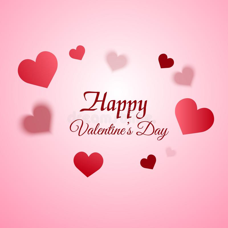 Valentine`s day greeting card with blurred hearts on pink background. Vector stock illustration