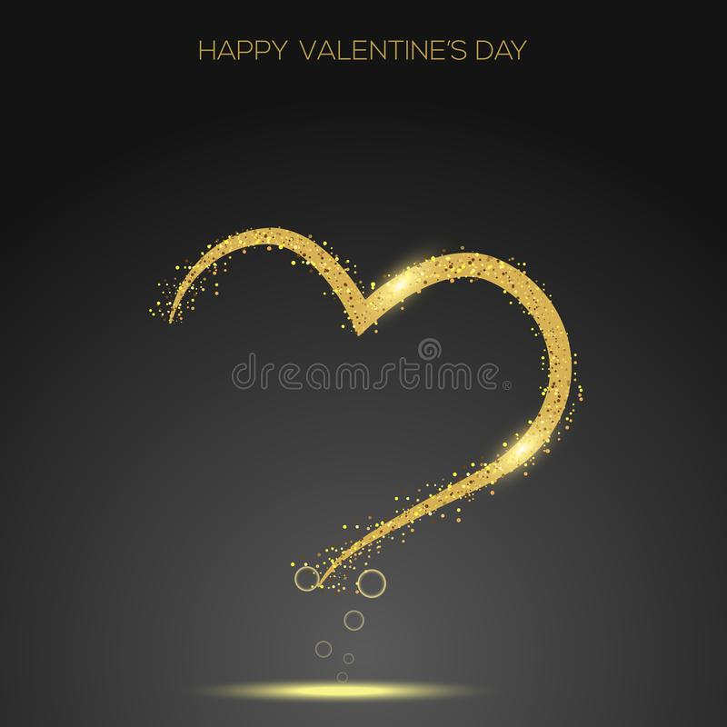 Valentine`s day greeting card confetti gold heart. Vector.  vector illustration