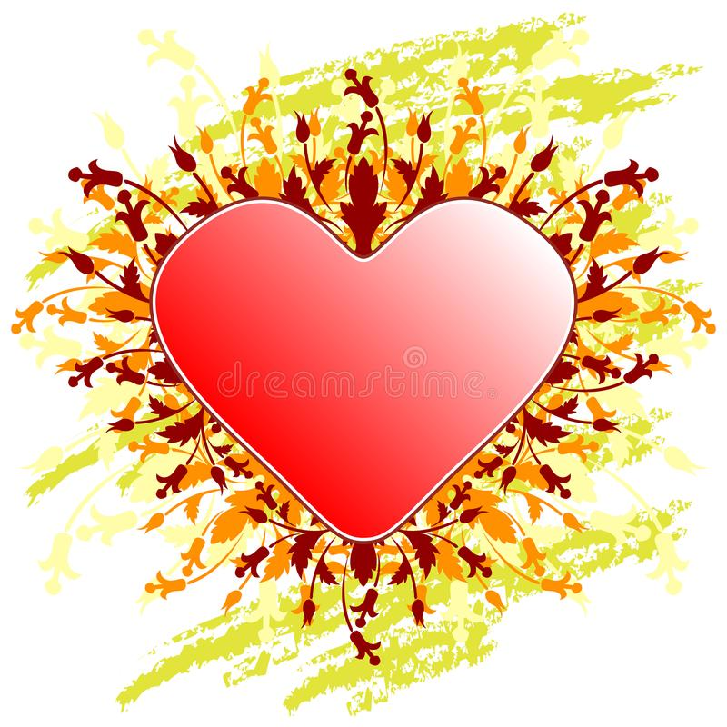 Valentine's Day greeting card with flowers heart on grunge backg stock photo