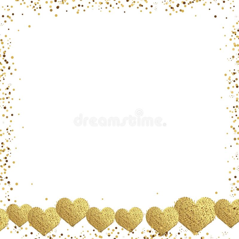 Valentine`s day greeting card with gold square frame and confetti gold hearts. Vector stock illustration